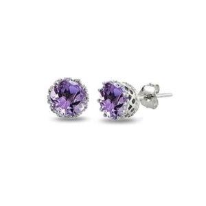 ♠️+  Genuine Amethyst Crown Stud Earrings